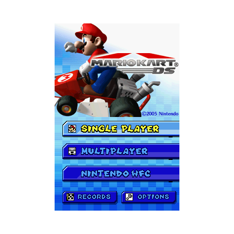 The international title screen in <i>Mario Kart DS</i>.