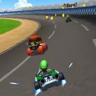 Luigi racing on Luigi Raceway in <i>Mario Kart 7</i>.