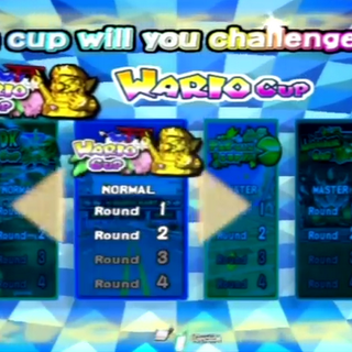 Selecting the Wario Cup from the menu.