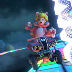 Cat Peach, racing on the track.