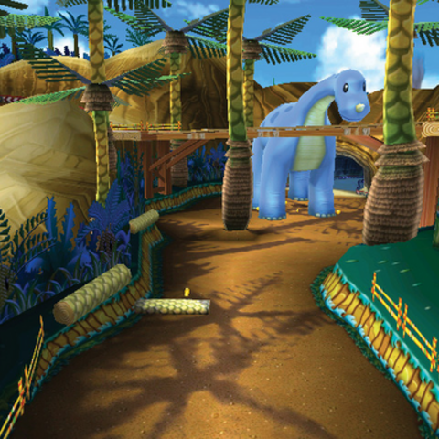 Dino Dino Jungle as it appears in <i>Mario Kart 7</i>.