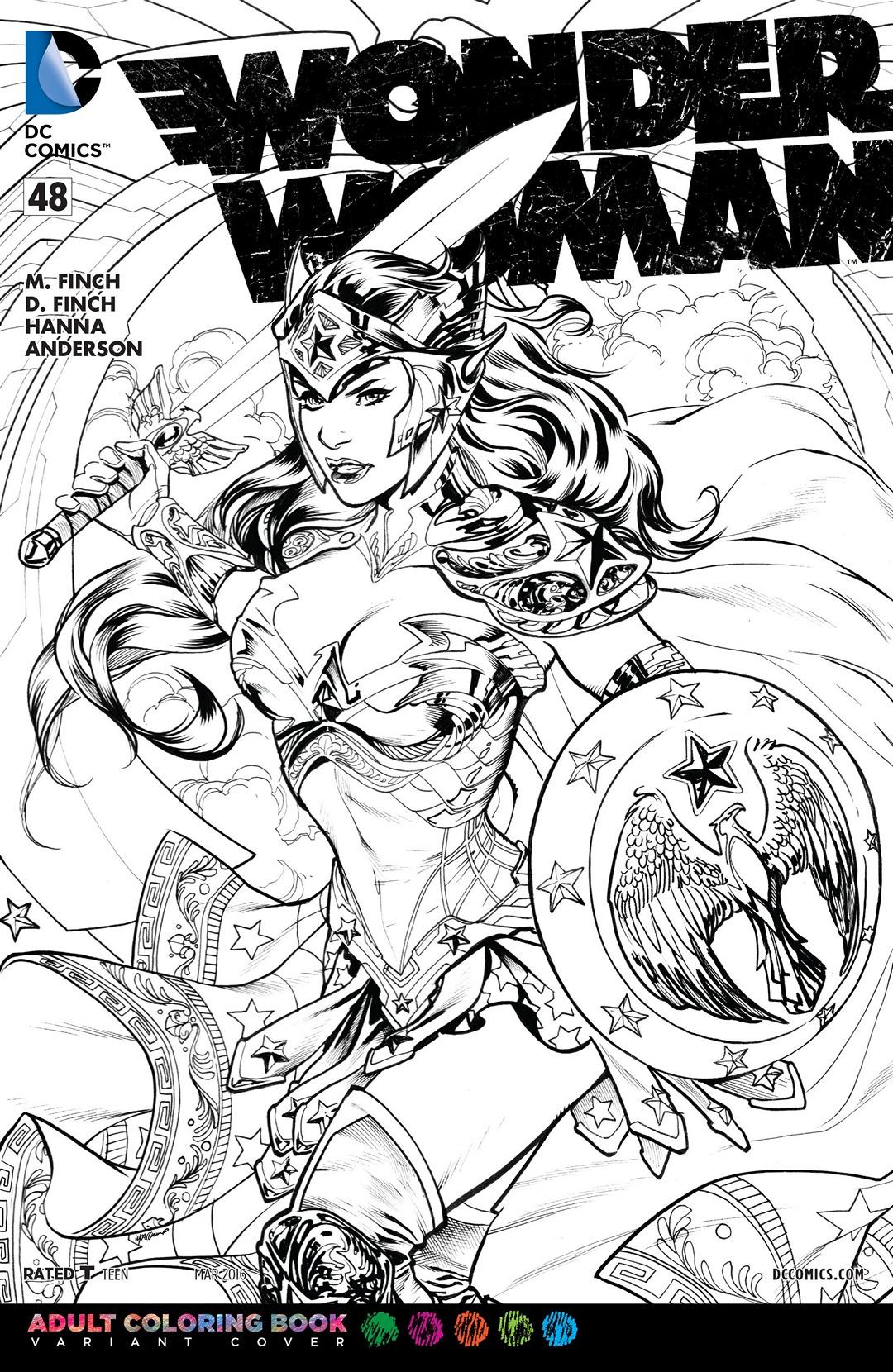 Coloring pages wonder woman - File Wonder Woman Vol 4 48 Adult Coloring Book Variant Jpg