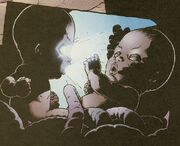 Charles Xavier (Earth-616) seemingly slaying his sister Cassandra Nova in eutero from New X-Men Vol 1 121