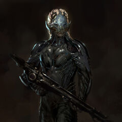 Concept art of a Dark Elf from <i>Thor: The Dark World</i>.