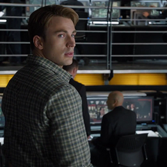Steve inside the S.H.I.E.L.D. Helicarrier command center.