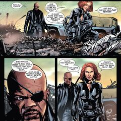 Natasha talking to Fury