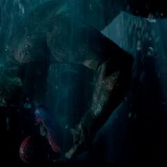 Spider-Man and the Lizard underwater.