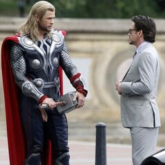 Robert Downey Jr.'s Tony Stark on set with Chris Hemsworth's Thor.