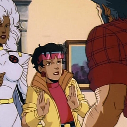 Jubilee and Storm try to calm Logan down.