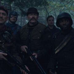 The Howling Commandos in a forest.