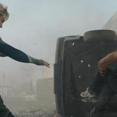 Pietro saves Barton and Costel.