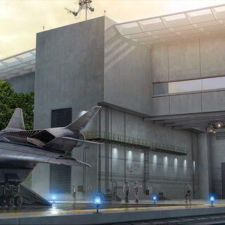 Concept art for Triskelion's entrance.