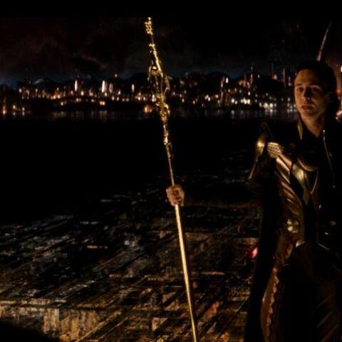 Loki holding Gungnir.