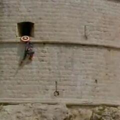 Captain America climbing Fortezza Lorenzo.
