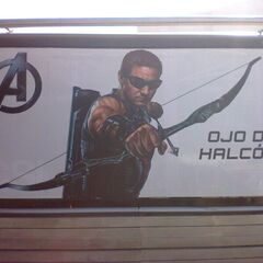 A promotional billboard featuring Hawkeye.