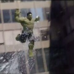 Hulk jumping from a building.