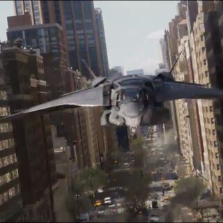 The Quinjet in action.