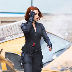 Scarlett Johansson on set as Black Widow.