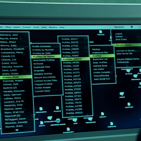 A list of mutants on Stryker's computer. Blaire's name is third from the top.