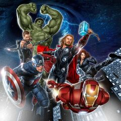 The Avengers team assembled.