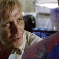 Dr. Connors talking to an unmasked Peter.
