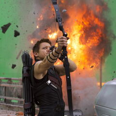 On set with Jeremy Renner (Hawkeye).