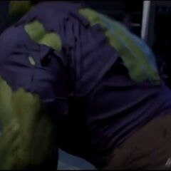 Banner transforming into the Hulk.