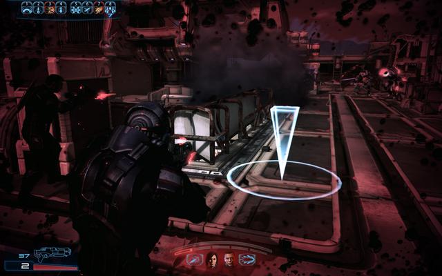 File:ME3 combat - low HP screen.png