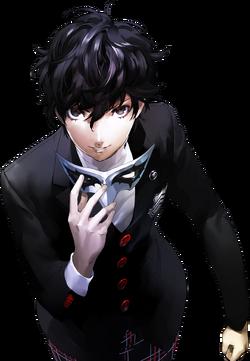 Protagonist holding mask