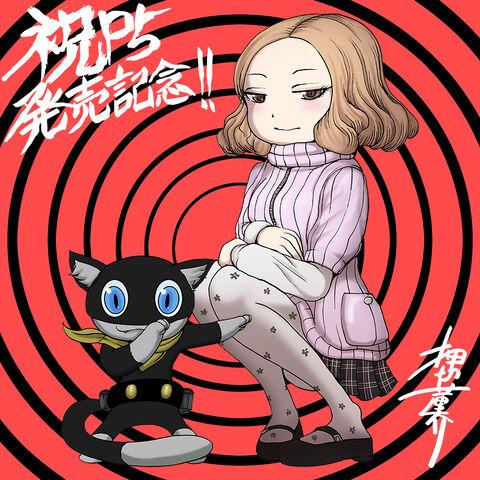 File:P5 Illustration of Haru and Morgana by Oshikiri Rensuke.jpg