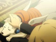 File:Koromaru in P4AU anime cutscene.jpg