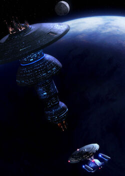 180px-USS Enterprise-D approaches an Earth Spacedock type starbase