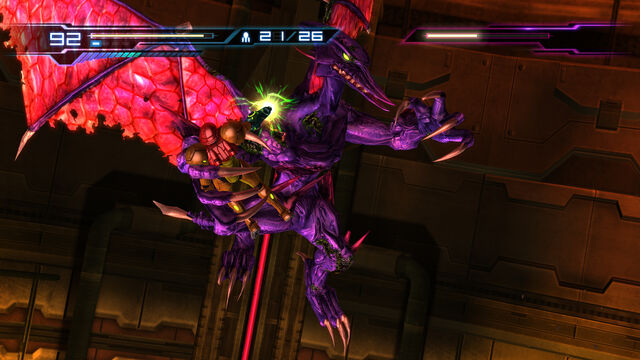File:Samus grasped by Ridley Plasma Beam charge Geothermal Power Plant Pyrosphere HD.jpg