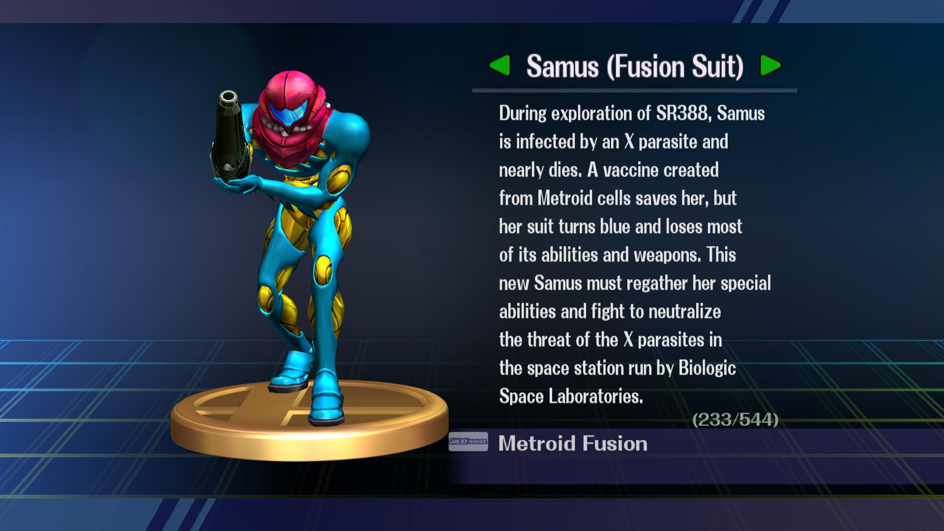 Samus Fusion Suit Sprites Samus  fusion suit trophy in
