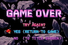 File:Metroid Zero Mission ~ Game Over Continue screen.png