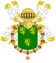 Kelson, Prince of Waydina as a Knight of the Golden Dragon Coat of Arms (PNG)