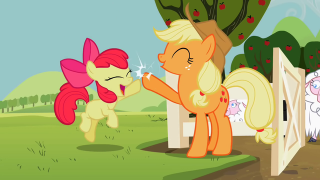 File:Applejack and Apple Bloom high-fiving S2E05.png