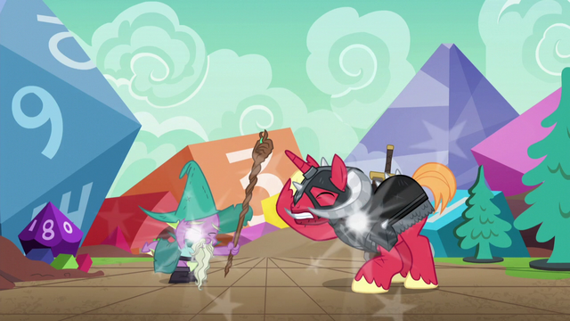 File:Spike and Big Mac appear in the game world S6E17.png