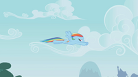 Rainbow Dash flying away S1E05