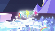 Twilight and Rainbow's cutie marks float over Wonderbolt Academy S6E24