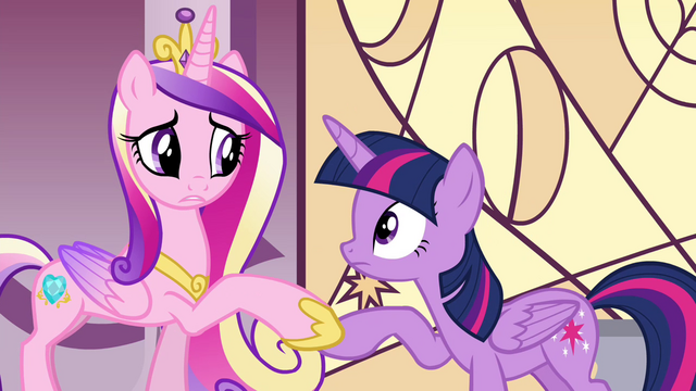 File:Cadance holds Twilight's hoof S4E26.png