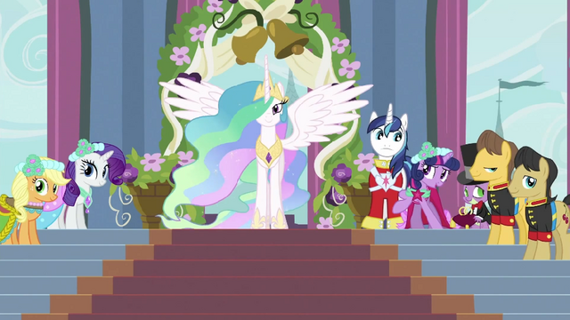 File:Celestia with other ponies S2E26.png