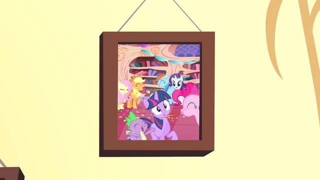 File:Photo of Twilight's welcome to Ponyville party S4E12.png