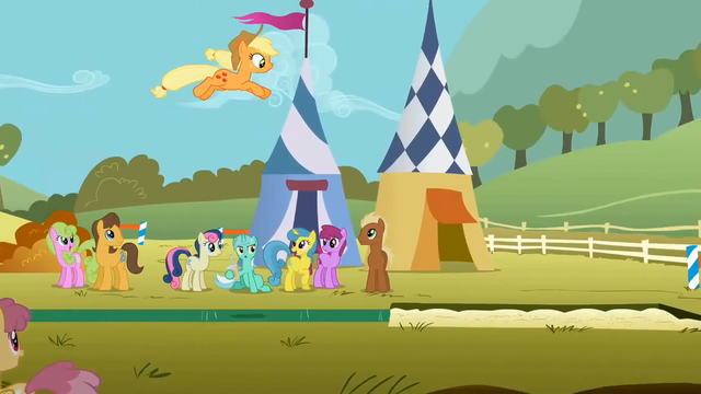File:Ponies watch Applejack leap S1E13.png
