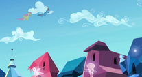 Fluttershy and Rainbow looking for Ms. Peachbottom S3E12