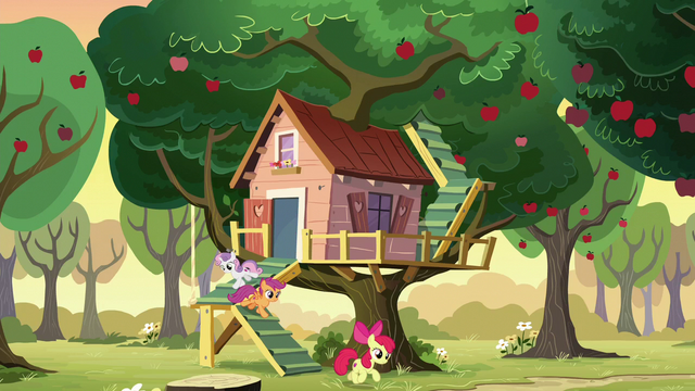 File:The Cutie Mark Crusaders leave the clubhouse S6E4.png