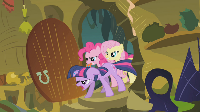 File:Twilight, Pinkie, and Fluttershy burst into the hut S1E09.png