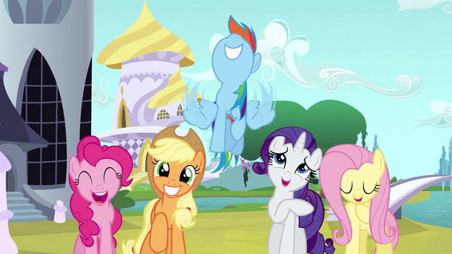 File:Other main ponies happy over Twilight S3E2.png