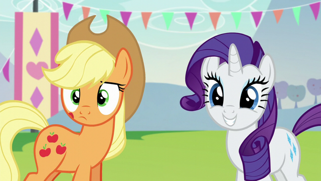 File:Applejack and Rarity hears Countess Coloratura S5E24.png