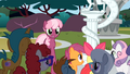 Fillies and colts next to Discord's statue S2E01.png